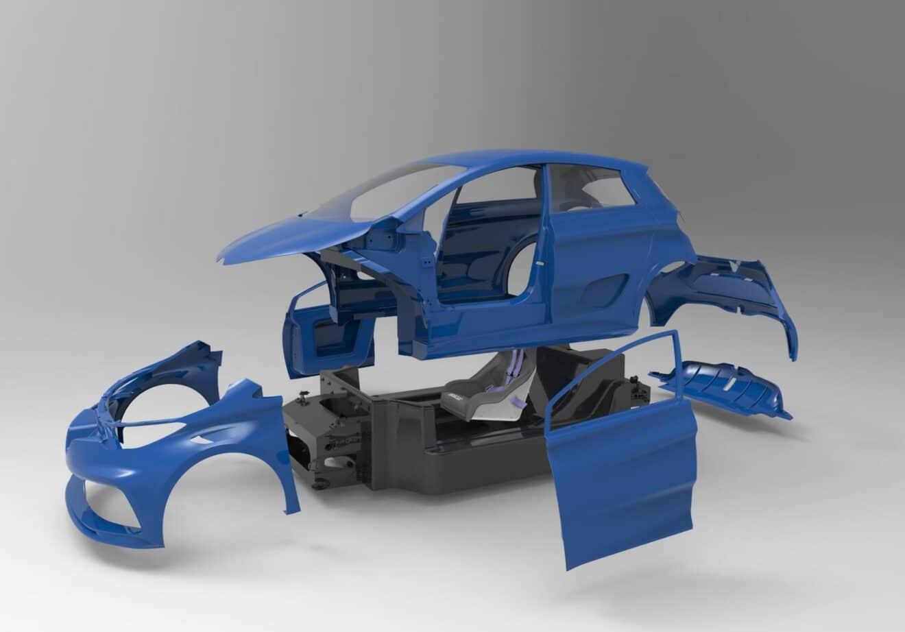 MTech Conception et développement de véhicule électrique - maquette 3D bleue